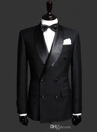 Wholesale Wedding After - 2016 Double Breasted Groom Tuxedos Jacket+Pant+Vest Wedding Suit For Men Mens Fashion Tux Tuxedos After Six Groom Suits---g07