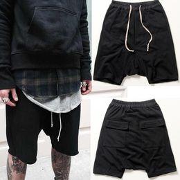 Wholesale Hiphop Sweatpants - Wholesale-2016 New black shorts kanye west cool sweatpants 30-36 mens jumpsuit HIPHOP rock stage urban clothing owens dress harem