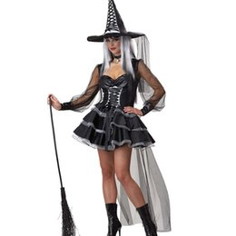 Wholesale Evil Beauty - New Arrival Mystic Witch Cosplay Costume Hot Sale Women Evil Witches Halloween Costume Mesh Spliced Lace-Up Layer Ball Gown Dress W84455