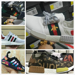 Wholesale Running Kicks - NMD Runner R1 Primeknit PK OG Black Triple White Nice Kicks Circa Knit Men and Women Running Shoes Sneakers Originals Classic Casual Shoes