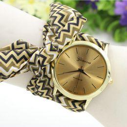 Wholesale Cloth Printing Designs - Women Flower Cloth Watches 2016 Trend Geneva Quartz Floral Fabric Band Aztec Design Print Wristwatch 3 Colors
