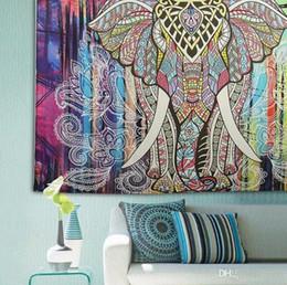 Wholesale Peacock Throw - 150*130cm Bohemian Mandala Beach Tapestry Hippie Throw Yoga Mat Towel Indian Elephant Peacock Polyester Beach Shawl Bath Towel 20Pcs