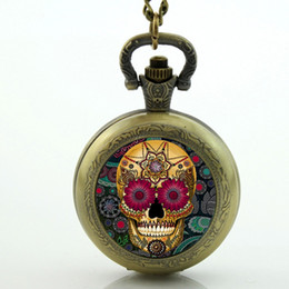Wholesale Antique Pocket Watches Skull - Wholesale-Antique bronze vintage Skull pocket watch Necklace skull pocket watch sugar skull necklace