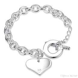 Wholesale Sterling Silver Curb Bracelets - Heart Charms Rolo Chain Bracelets & Bangle 925 Sterling Silver Jewelry Silver Plated Curb-chain Link Toggle-clasps Bracelet Gift for Lovers