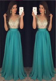 Wholesale Pearls Natural Stone - 2016 Sexy Crew Neck Chiffon Long Prom Dresses Tulle Beaded Stones Top Floor Length Evening Party Dresses