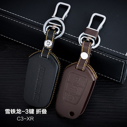 caso citroen c3 chave Desconto 100% couro genuíno Car Key Case Cover 3 Botões Folding para a Citroën 2014 Titular C3-XR Car Key Bag Car Key Accessorie