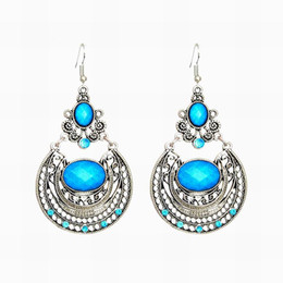 Wholesale Vintage Metal Chandelier Flowers - Bohemia Vintage Silver Plated Turquoise Rhinestone Round Dangle Earrings Boho Ethnic Metal Drop Earrings For Woman Brincos DHE193