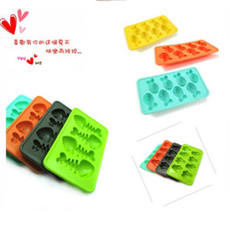Wholesale Ice Shot Silicone - 3 Pcs lot cartoon Ice Cube Tray Mold Makes Shot Glasses Ice Mould Novelty Gifts Ice Tray Summer Drinking Tool Free Shipping