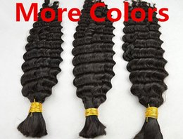 Wholesale Human Hair Bulk Braiding Wavy - AAAAA Grade 100g*2Pcs Deep Wavy Black Brown Blonde Mixed Piano Ombre Colors Hair Bulk Hair Braid 100% TOP Human Hair Extensions