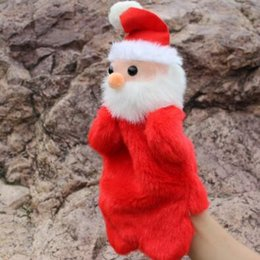 Wholesale Puppets For Storytelling - New Cute Christmas Hand Puppet Dolls Toys 27CM Santa Stuffed Dolls Storytelling Finger Even Hand Puppet For Baby Gifts CCA7636 100pcs