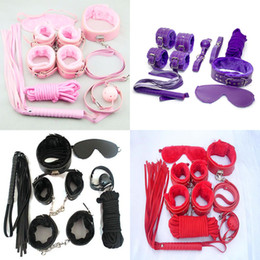 Wholesale Bdsm Kit Pink - Bondage set 7 kits for foreplay sex games blac fur handcuffs blindfold handcuffs ankle cuff blindfold collar leather whip ball gag rope BDSM