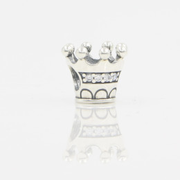 Wholesale 925 Sterling Silver Bead Findings - Princess Crown Shaped Charm Bead European Charms Real 925 Sterling Silver DIY Bijoux Antique Silver Beads DIY Bracelets Finding For Jewelry