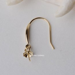 Wholesale Earrings French Hook Gold - 18K Gold Earring Hooks with Eyepin Bead Caps, Yellow White Rose Karat Gold Solid 18ct oro French Earwire Dangle Pearl Earrings