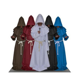 Wholesale Medieval Accessories - Medieval Costume Men Women Vintage Renaissance Monk Cosplay Cowl Friar Priest Hooded Robe Rope Cloak Cape Clothing