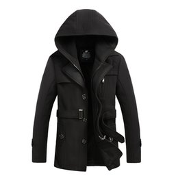 Wholesale Long Wool Overcoats For Men - Fall-2016 Mens Black Red Wool Blend Hooded Trench Pea Coat Collar Hombre Camping Jacket Overcoat for Men Korean Style Brand Clothing
