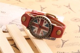 Wholesale England Watch - wind restoring ancient ways the flag of England vintage watches European and American fashion female watches high-grade leather A2016051410