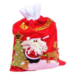 Wholesale Santa Claus Backpack - Free shipping Christmas gift bag Christmas supplies props Santa Claus velvet backpack Gold velvet Santa backpack