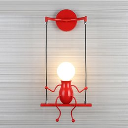 Ehe führte licht dekoration online-Kreative nordic glühbirne led wandleuchte nachtlicht sitzend schlafzimmer moderne dekoration lichter studie kinder warm geschenk ehe lampen