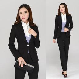 Wholesale Women Office Suits Designs - Wholesale-New 2016 Autumn Winter Formal Professional Office Uniform Designs Women Suits with Pant and Blazer Sets Fashion Elegant