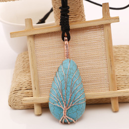 Wholesale Copper Winding Wire - Fashion Sweater Chain Plating Copper Wire Winding Handmade Pendants Tree Of Life Blue Turquoise Stone Necklace Clothing All-Match