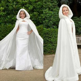 Wholesale White Cape Fur Trim - Classic Winter Bridal Cape 67-inch White Satin with Fur Trim Wedding Cloak Handmade Hooded Cape Christmas Bridal Wraps Custom-made Size