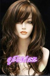 Wholesale Long Brown Curly Cosplay Wigs - 100%Free shipping New High Quality Fashion Picture Indian Mongolian wigs>>New long brown & black mixed curly Mixed Natural Hair cosplay wigs