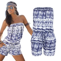 Wholesale Tube Top Bodysuit - Summer Fashion Tube Top Shoulder Printing Lin Tai Pants Clubwear Jumpsuits Rompers For Bodysuit Women V-neck Blue
