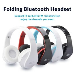 Wholesale Noise Computer - Portable Folding Wireless Bluetooth Headsets Noise Reduction Stereo Music Headphones USB Port for Cell Phones Computer