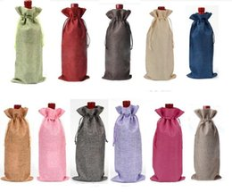 "Wholesale Bottle Holder Bag - Jute Wine Bottle Bags Drawstring Pouch 15cmx35cm(6""x14"") Gift Bag Wedding and Festivals Decoration Favor holder"