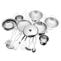 Wholesale Metal Toy Pots - Stainless Steel Kitchen Cooking Utensils Pots Pans Food Gift Miniature Kitchen Cook Tools Simulation Play House Toys