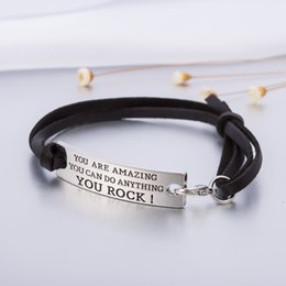 Wholesale Wholesale Heart Tin Cans - DIY Fashion Jewelry Inspirational Message You Are Amazing You Can Do Everything You Rock Charm Leather Bracelet