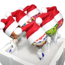 Wholesale Mini Hats Decoration - 2016 New Mini Cute Santa Claus Hat Christmas Xmas Holiday Lollipop Top Topper Decor Hot 6pcs lot