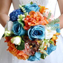Wholesale Silk Carnation Wedding Bouquets - 2016 Hot Fashion Forest Bouquet Blue Orange Handmade DIY Silk Flowers Wedding Supplies Bridal Bouquet Beach Country Wedding Bouquet