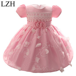 Wholesale Party Dress For Baby Winter - Wholesale- LZH Baby Girls Dress 2017 Kids Girl Princess 1 Year Birthday Party Tutu Dress For Baby Costume Infant Christening Dress 0-2 Year
