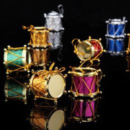 Wholesale Wholesale Hang Drum - Christmas Tree Ornament Snare Drum Christmas Drum Tree Hanging Ornaments Xmas Decor Colorful Design 6 12PCS