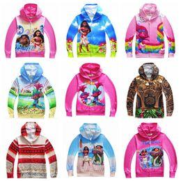 Wholesale Children Girls Spring Clothes - 18 Designs Sweatshirts Boys Clothing Moana Jacket Kids Hoodies Girls Trolls Children Cartoon Autumn Clothing Zipper Outwear CCA6896 50pcs
