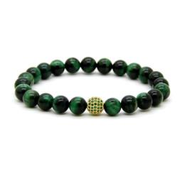Pulsera de pelota verde online-Venta caliente 8mm A Grade Green Tiger Eye Stone Beads con 9mm Micro pavimentada verde Cz Ball con cuentas Party Gift Bracelet
