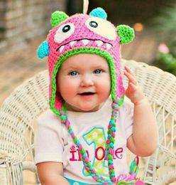 Wholesale Dino Hats - Monster Crochet Knitted Hat Baby Boys Girls Winter Christmas Dino Cap Newborn Infant Toddler Kids Children Animal Beanie Cotton Photo Props