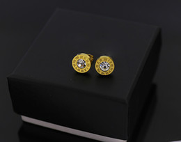 Wholesale Earring Cz Round - round Roman numerals single cz zircon stone stud earrings for women 316l titanium steel 18k rose yellow white gold plated good quality