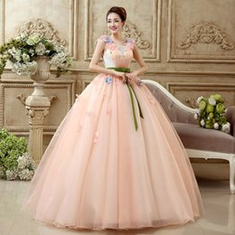Wholesale Cross Back Tank Dress - Orange Strapless Tull Ball Gown Quinceanera Dress Free shipping flowers tank shoulder black lace up pink women ball gown Quinceanera Dresses