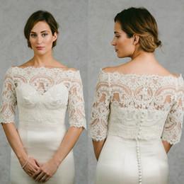 Wholesale Off White Bridal Bolero - Off Shoulder Cheap Bridal Wraps Half Sleeves Bridal Coat Lace Jackets Wedding Capes Wraps Bolero Jacket Wedding Dress Wraps Plus Size