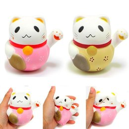 Wholesale Lucky Cat Wholesalers - New 10CM Squishy Jumbo Kawaii Lucky Cat Pussy Animal Slow Rising Toys Soft Squeeze Stretchy Scented Bread Cake Kid Fun Toy Gift Doll