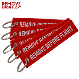 Wholesale Remove Chain - Remove Before Flight Chaveiro Key Chain for Cars Red Key Fobs OEM Keychain Jewelry Aviation Tag Embroidery Key Chains 5 PCS LOT