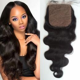 Wholesale Silk Bleach Knot Closure - 100% Human Hair 4x4 Silk Base Closure Body wave Virgin Hair 8-22inch Brazilian Silk Top Closure Bleached Knots G-EASY