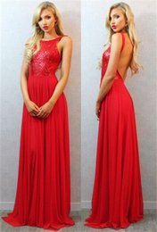 Wholesale Special Occasion Dresses Teens - Red Prom Dresses Long Sexy Back Sweep Train Sequins 2016 Special Occasion Dresses Fashion for Teens