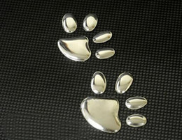 Wholesale Hot Bumper Stickers - HOT SALE 100PR LOT Auto decals with Dog paw Bumper Stickers soft pvc silver Cool cheap car decals
