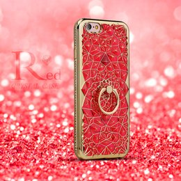Wholesale Crystal Flowers Holder - For Apple iPhone 7 6 3D Plating Glitter Flowers Case Soft TPU Diamond Ring Holder Cover For iPhone7 6s Plus Crystal Phone Bags