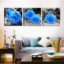 Wholesale Oil Painting Fish - unframed 3 Pieces picture Canvas Prints Blue rose Pearl Necklace characters fish Lotus leaf heaven white clouds grassland cattle tulips