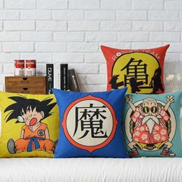 Wholesale Dragon Ball Pillows - 45cm Japanese cartoon Dragon Ball Cotton Linen Fabric Waist Pillow 18inch Hot Sale New Home Decorative Sofa Car Back Cushion
