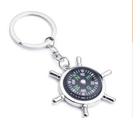 Wholesale Smallest Compass - 2015 Alloy Nautical helm compass keychain Fashion Key Chains Charms Keychains novelty key rings small items best selling items